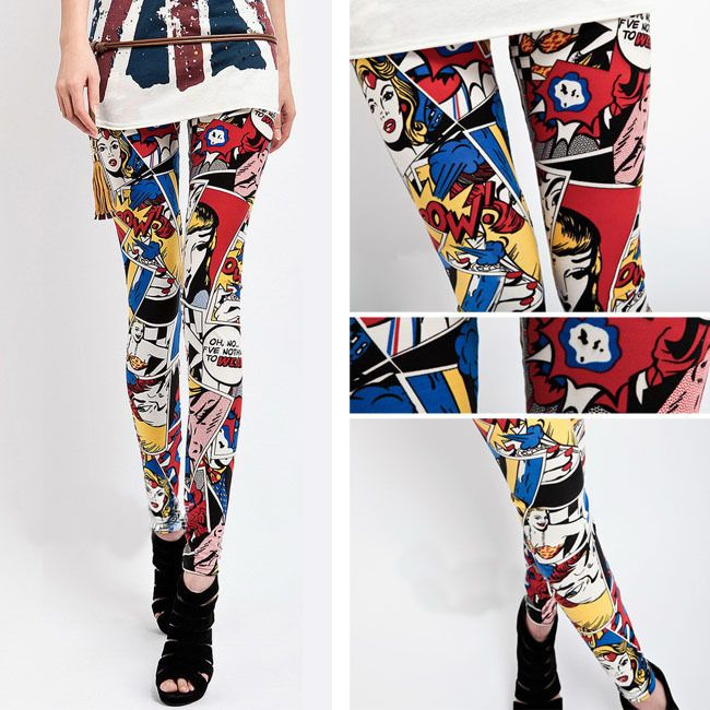 These cool and chic legging features wonder woman super hero comic print.  stretchy spandex material  100% high quality.  HOT SELLER! FREE SHIPPING!