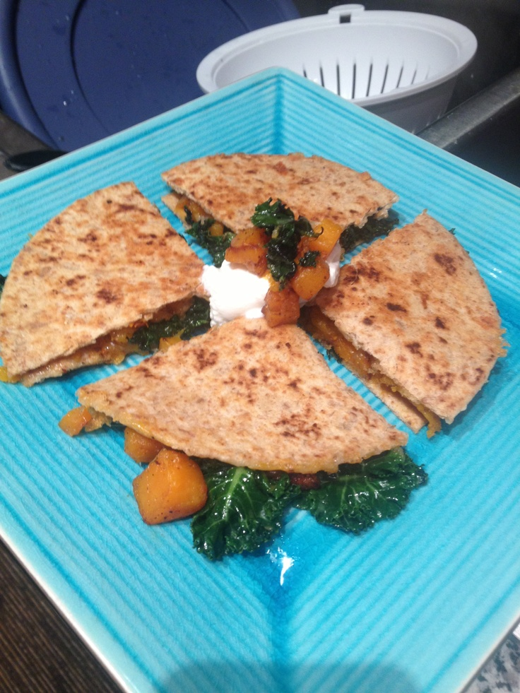 Butternut squash and kale quesadillas. Pioneer Woman recipe.