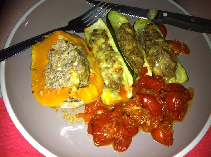 Stuffed zucchini and butternut. Tomato sauce- olive oil, onion, add ...