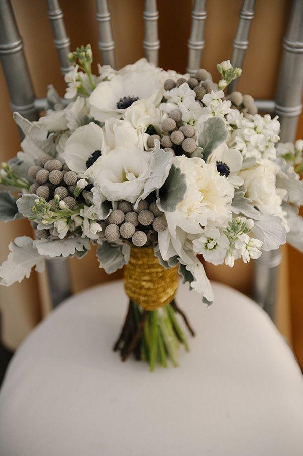 White Amp Gray Wedding Bouquet