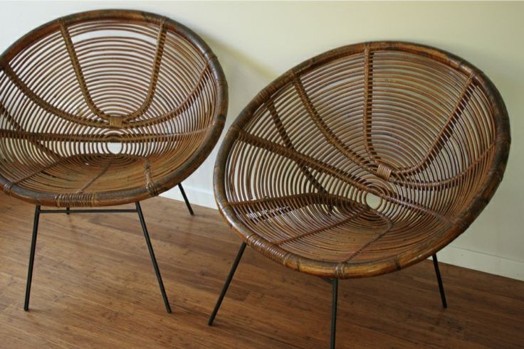 Retro vintage authentic 1950s adult size cane saucer chairs x2 ebay