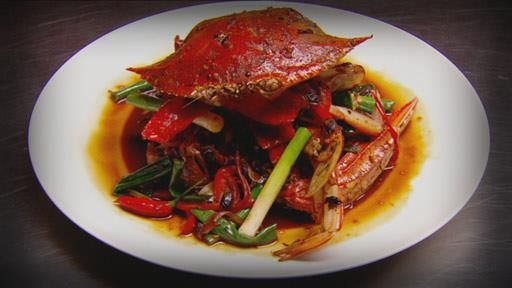 Steamed Blue Swimmer Crab with Black Bean and Chilli sauce