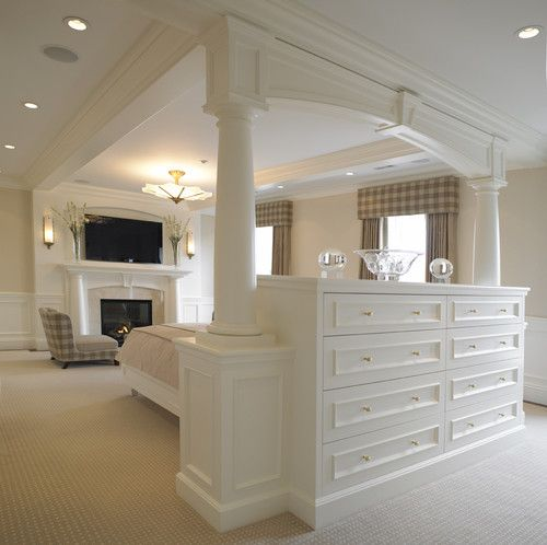 built-in dresser with back that serves as the headboard for the bed. love this open space feel.  Omg need this!!