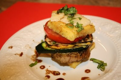 Grilled Summer Vegetable and Mozzarella Polenta Stacks with Honey ...