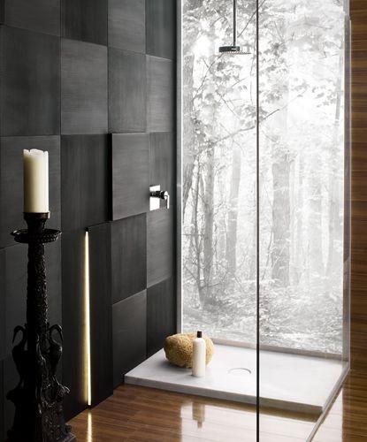 Carrara marble shower floor, Black porcelain wall tile