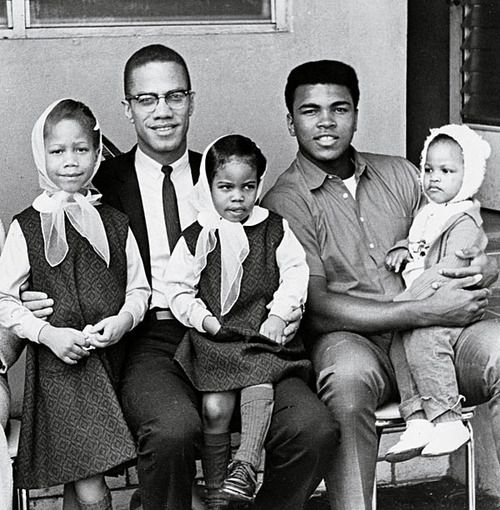 Malcom X and Mohammad Ali with their kids
