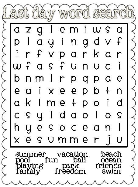 1st Grade Halloween Word Search Last day word search