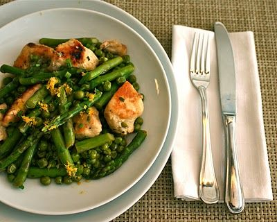 APPLE A DAY: Chicken Saute with Sugar Snaps and Asparagus