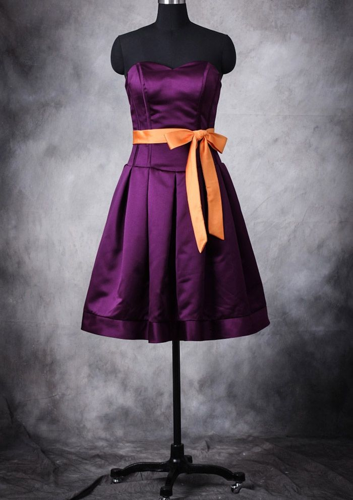 purple bridesmaid dress with orange sash purple wedding pinterest