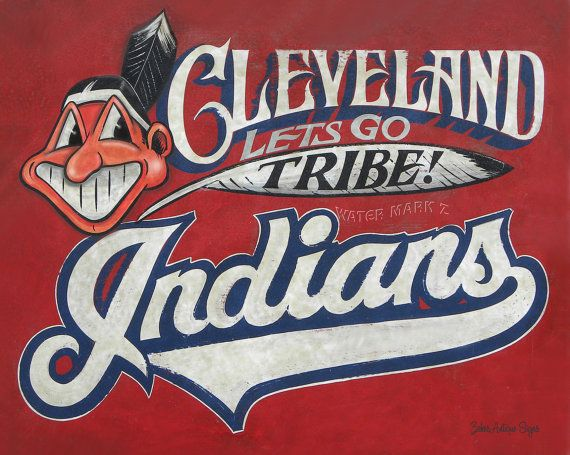 Cleveland Indians,,Print with MAT,art, wall hanging, baseball decor ...: pinterest.com/pin/75716837458618345