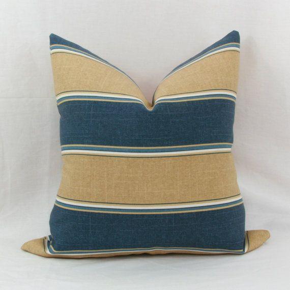 blue striped throw pillows
