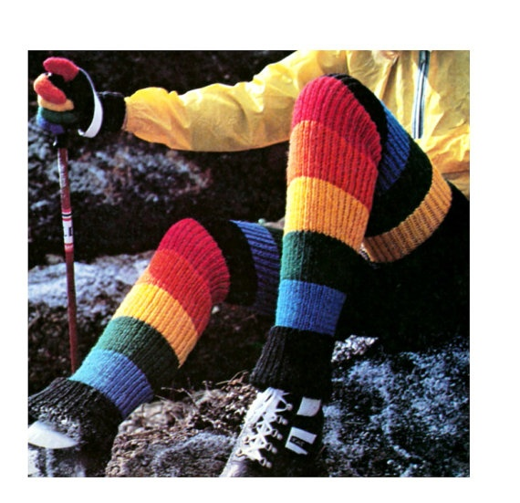 Knitting Pattern For Thigh High Leg Warmers : Vintage Knitting Pattern Thigh High Stripes Leg Warmer ...