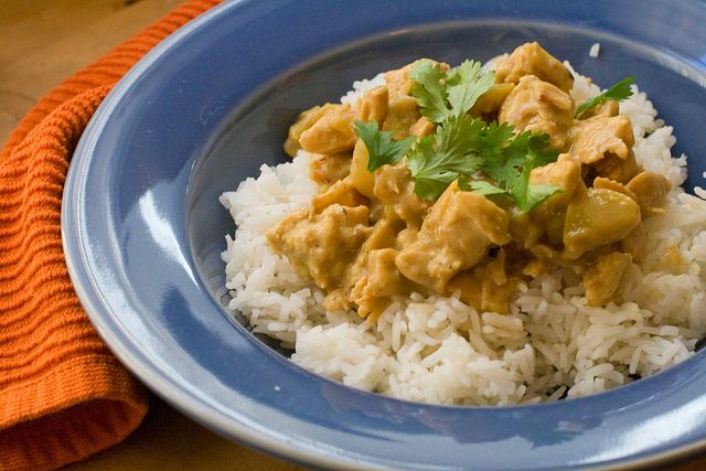 Chicken curry with jasmine rice and cilantro.