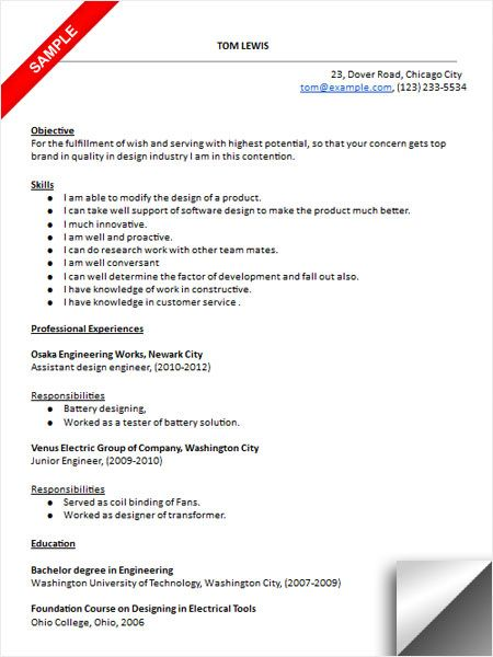 design engineer resume sample resume examples pinterest