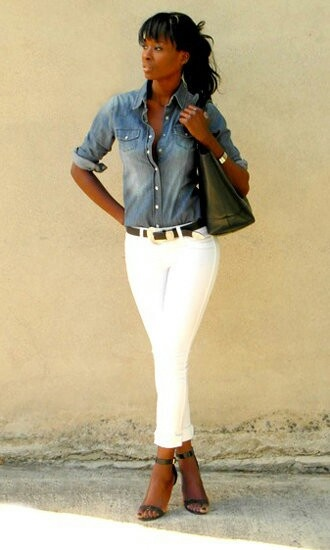 Denim shirt white jeans and heals....so summery and so cute!