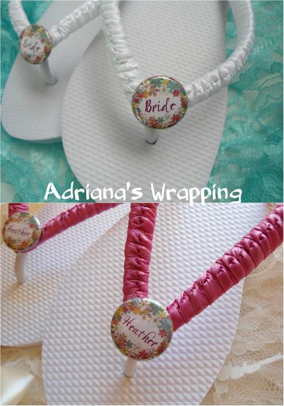 Bridesmaids Flip Flops Wedding Party Flip Flops Just Married Weddin