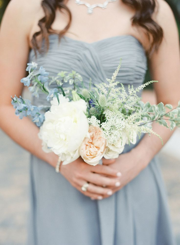love love love the gray + peach + green color palette | See the wedding on SMP: http://www.StyleMePretty.com/2014/01/27/rustic-rancho-las-lomas-wedding/