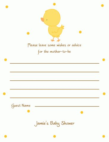 Duck advice cards baby shower baby pinterest