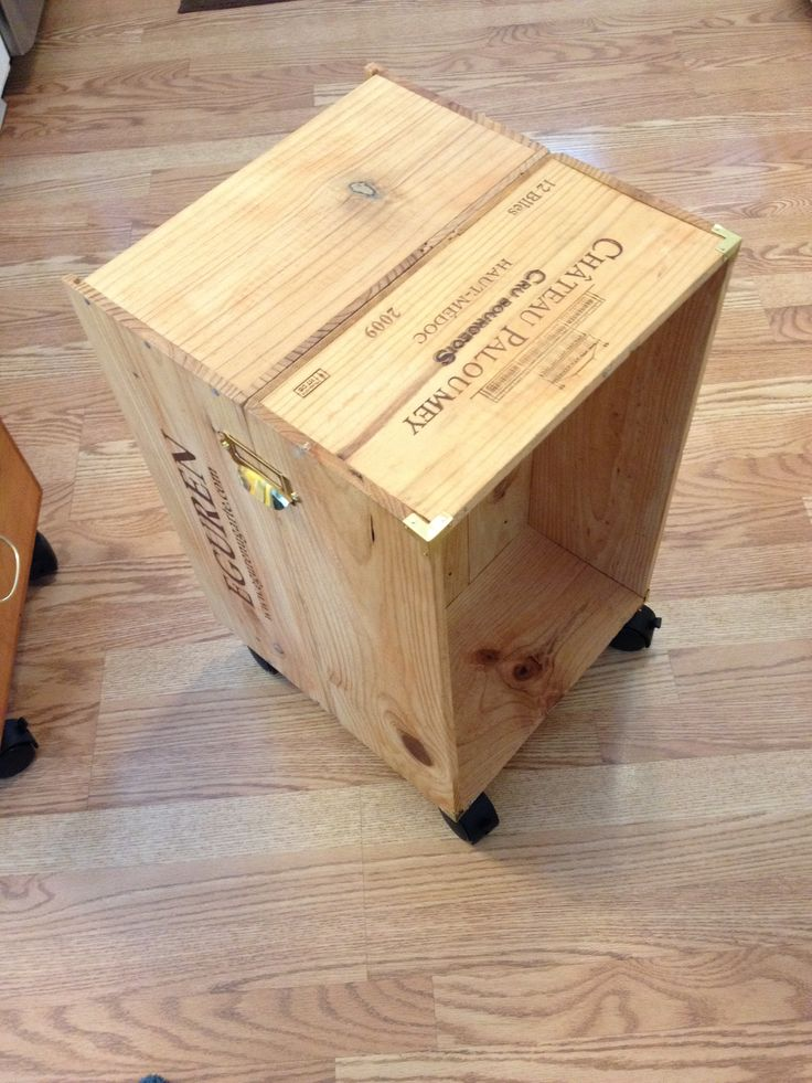 Wine crate diy end table natz creations pinterest for Diy wine crates