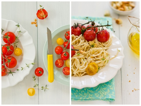 Sips and Spoonfuls: Roasted Tomato and Garlic Crouton Spaghetti