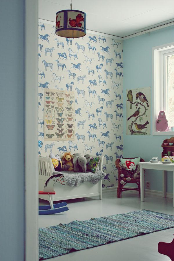 Blue vintage kids room horse wallpaper decor pinterest Vintage childrens room decor