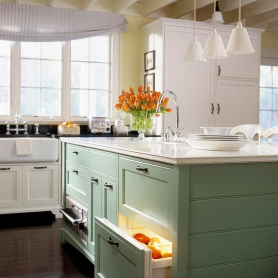 Beautiful Teal Kitchen Island with Extra Produce Storage