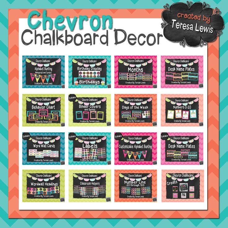 Classroom Chalkboard Decor : Chevron chalkboard classroom decor school themes