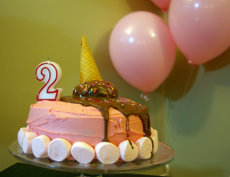 melted ice cream cone cake | parties | Pinterest