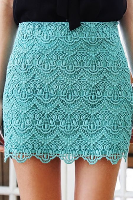 Teal Scallop Lace Skirt $65.00 | STYLEADDICT.COM.AU