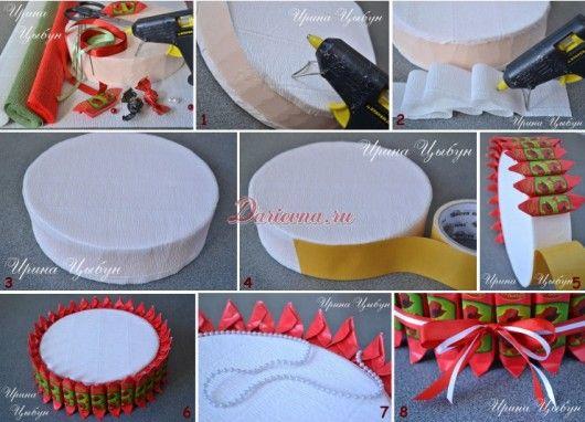 Каркас для торта из конфет из картона своими руками 96