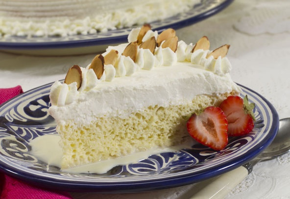 This holiday themed tres leches cake uses eggnog in place of the ...