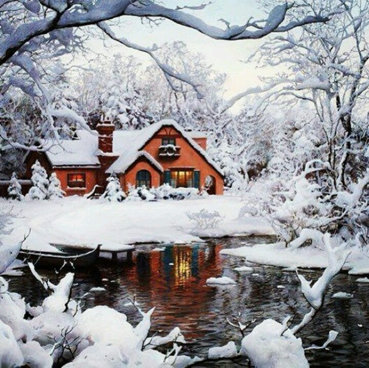 snowy cabin in the woods winter wonderlands pinterest