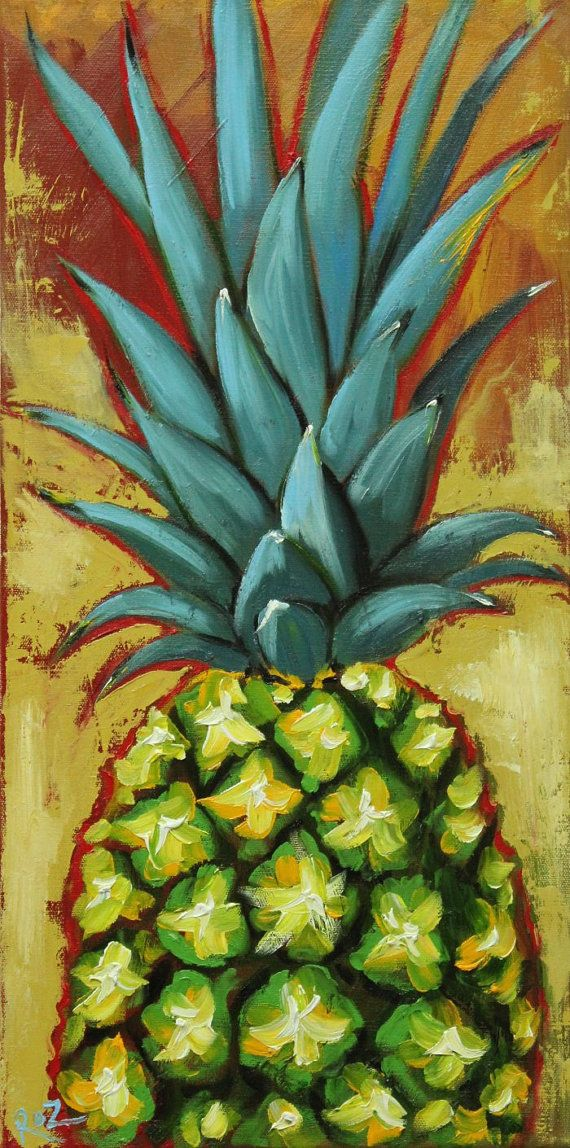 Pineapple painting 4 12×24 inch original still life fruit oil painting by Roz