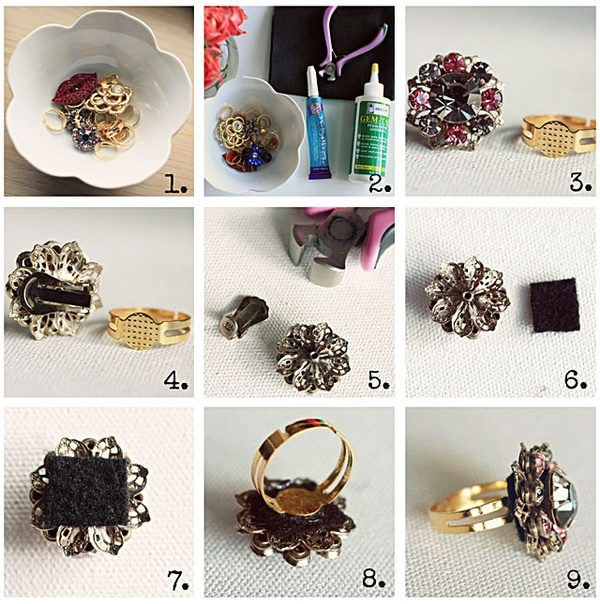 make cocktail rings out of vintage clip on earrings mauijamee
