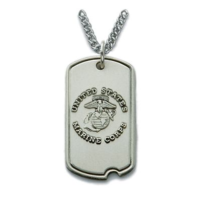 sterling silver u s marines tag with cross on back