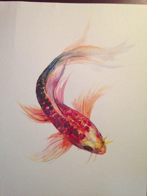 Watercolor painting koi fish 9 x 12 original for Koi fish colors