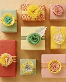 "Creative Wrapping for Bridal Shower ""game winner gifts""  --  Use cupcake papers to make your bows!"