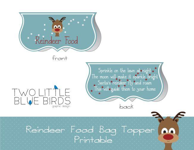 Reindeer food bag topper printable candy bar wrapper pinterest