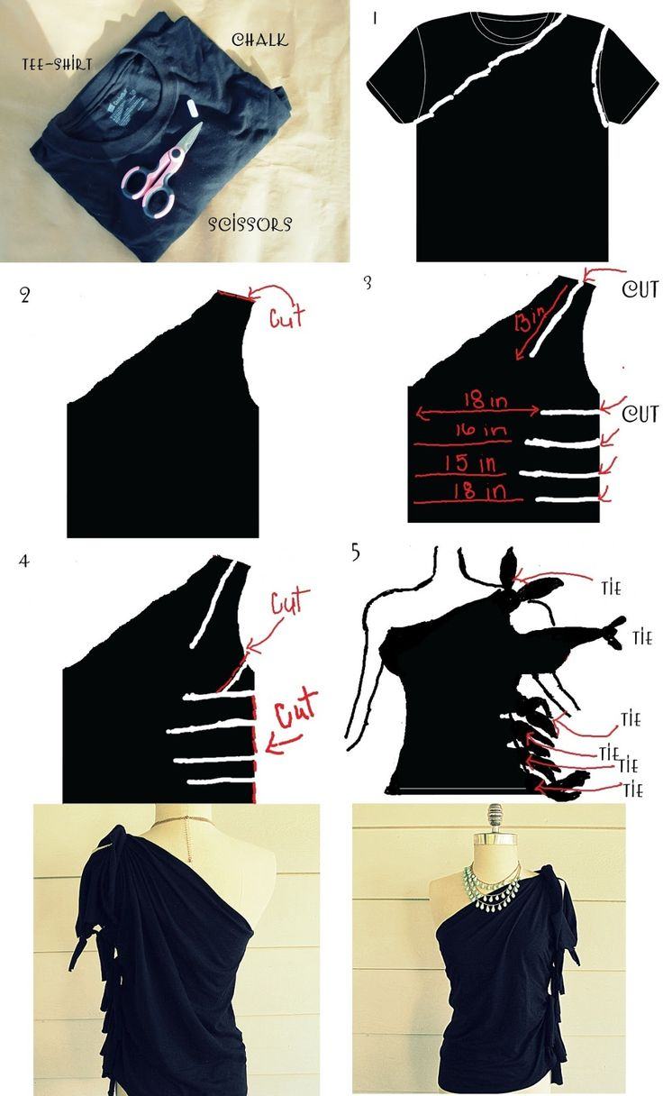Clothes Refashion: DIY No Sew, One Shoulder Shirt.  Personally don't really like all the tying but gives me an idea for an asymmetrical top.  I would attach a thin strap for other shoulder.