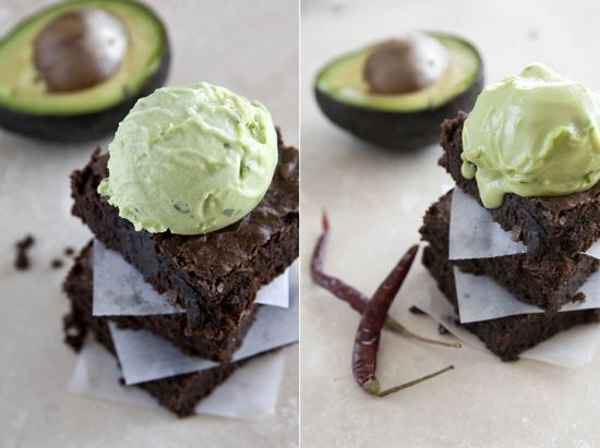 Avocado Chili Brownies topped with Avocado Tequila Ice Cream recipe