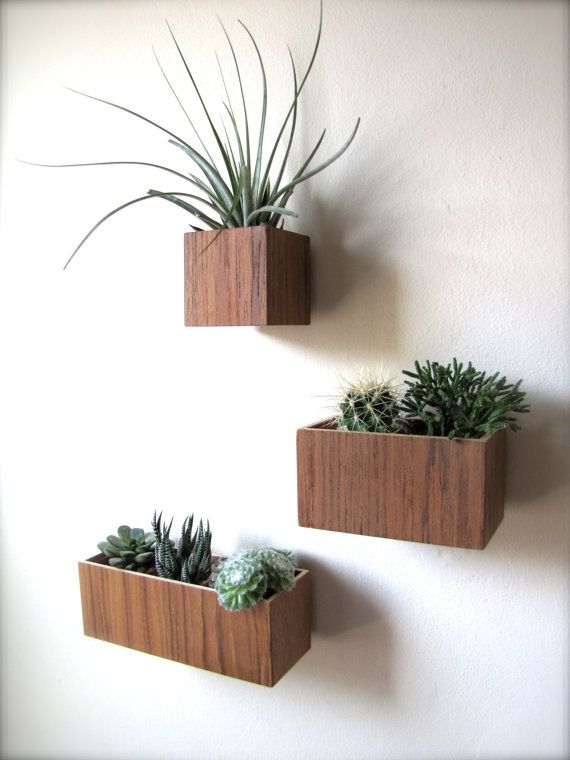Set Of Three Wall Hanging Planters In Teak Wood Includes
