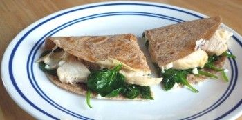 Spinach, chicken and goat cheese quesadilla. An easy and extremely ...