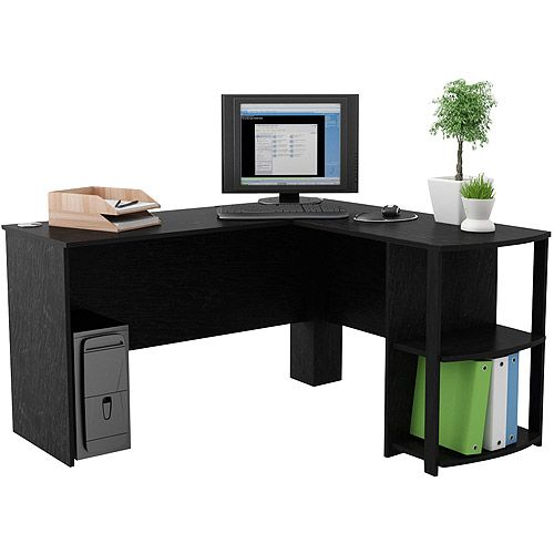 Shaped Desk with Side Storage, Black Ebony Ash: Furniture : Walmart