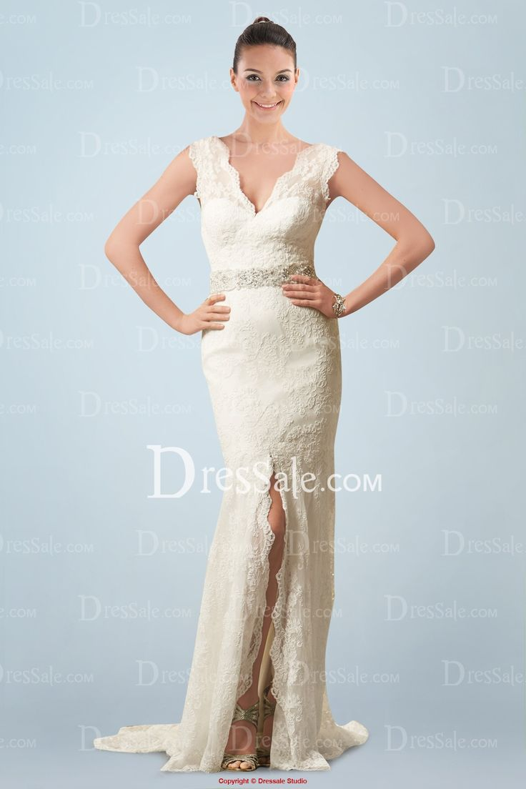 vogue sheath wedding gown in delicate lace with beaded