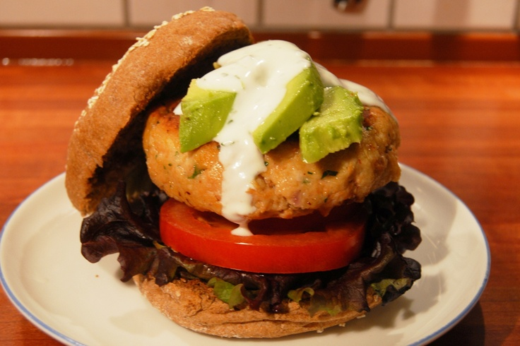 Chipotle salmon burger with cilantro lime sauce | Recipe