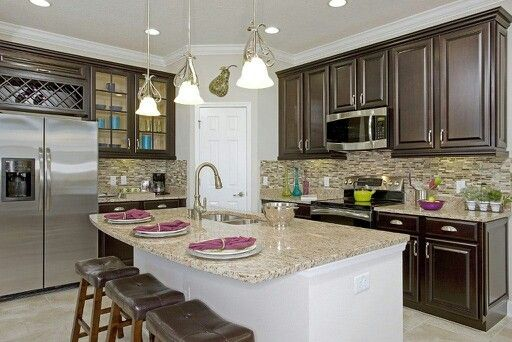 Backsplash ideas kitchen pinterest for Model home kitchen ideas