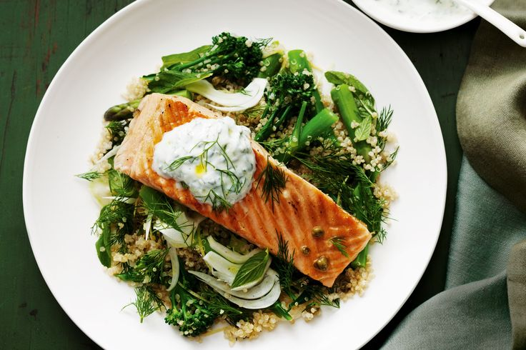 Quinoa salad with salmon #healthy http://www.taste.com.au/recipes ...