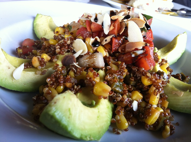 Quinoa Stuffed Avocado: Fresh avocado stuffed with chile-lime corn ...
