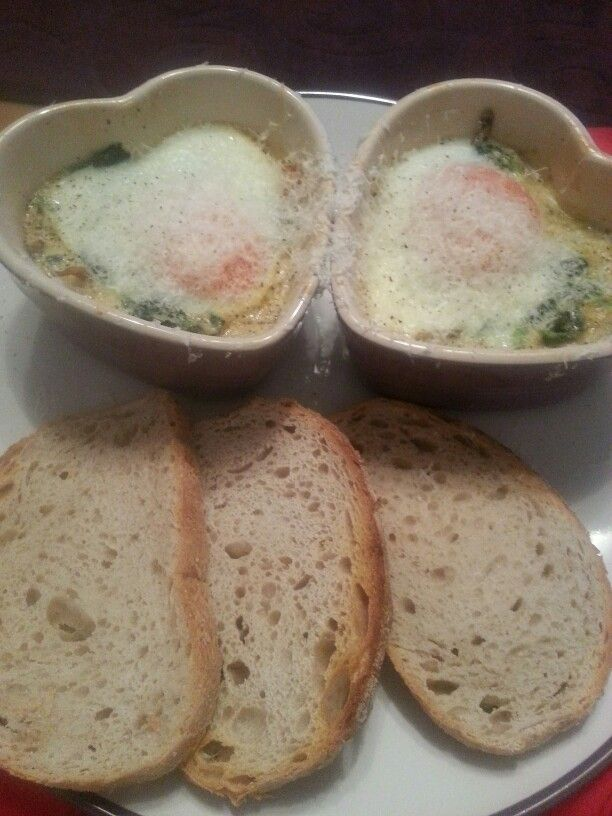 Baked eggs with wild mushrooms, spinach and parmesan from Emma Dean's ...