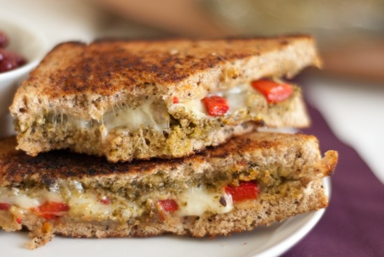 Pesto grilled cheese: layer pesto, mozzarella, and roasted red peppers ...